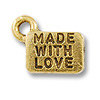 Made with Love Charm 6x9mm Pewter Antique Gold Plated (1-Pc)