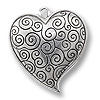 Heart Pendant 38x33mm Pewter Antique Silver Plated (1-Pc)