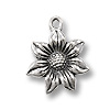 Charm - Flower 16x18mm Pewter Antique Silver Plated (1-Pc)