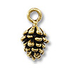 Pine Cone Charm 10x7mm Pewter Antique Gold Plated (1-Pc)