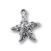 Charm - Starfish 15x17mm Pewter Antique Silver Plated (1-Pc)