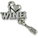 Charm - I Love Wine 21x15mm Pewter Antique Silver Plated (1-Pc)