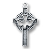 Holy Spirit Cross Charm 28x18mm Pewter Antique Silver Plated (1-Pc)