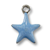 Charm - Light Blue Star 11mm Pewter Antique Silver Plated (1-Pc)