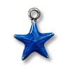 Charm - Dark Blue Star 11mm Pewter Antique Silver Plated (1-Pc)