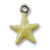 Charm - Yellow Star 11mm Pewter Antique Silver Plated (1-Pc)