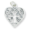 Cross in Heart Charm - 15x16mm Sterling Silver (1-Pc)