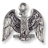 American Eagle Charm 17x20mm Pewter Antique Silver Plated (1-Pc)