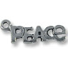 Charm - Peace 7x20mm Pewter Antique Silver Plated (1-Pc)