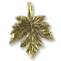Charm - Leaf 15x12mm Pewter Antique Gold Plated (1-Pc)