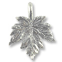 Charm - Leaf 15x12mm Pewter Antique Silver Plated (1-Pc)