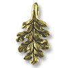 Charm - Oak Leaf 16x9mm Pewter Antique Gold Plated (1-Pc)
