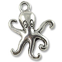 Octopus Charm 20x15mm Pewter Antique Silver Plated (1-Pc)