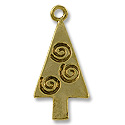Charm - Tree with Spirals 26x13mm Pewter Antique Gold Plated (1-Pc)