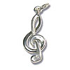 Treble Clef Charm - 21x8mm Sterling Silver (1-Pc)