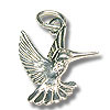 Hummingbird Charm - 15.5x14mm Sterling Silver (1-Pc)
