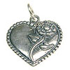 Heart with Rose Charm - 15x16mm Sterling Silver (1-Pc)