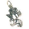 Rose Charm - 19x12mm Sterling Silver (1-Pc)