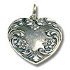 Fancy Heart Charm - 18mm Sterling Silver (1-Pc)