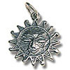 Sun Charm - 15mm Sterling Silver (1-Pc)