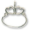 Charm Holder - Two Hearts 32x24mm Sterling Silver (1-Pc)