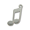 Charm - Musical Note 14x10mm Pewter Antique Silver Plated (1-Pc)