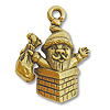 Charm - Santa Chimney 20x16mm Pewter Antique Gold Plated (1-Pc)