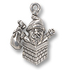 Charm - Santa Chimney 20x16mm Pewter Antique Silver Plated (1-Pc)