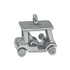 Golf Cart Charm 10x14mm Pewter Antique Silver Plated (1-Pc)
