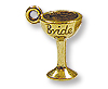 Bride Glass Charm 14x9mm Pewter Antique Gold Plated (1-Pc)