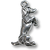 Charm - Dog Begging 19x12mm Pewter Antique Silver Plated (1-Pc)