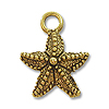 Charm - Starfish 12mm Pewter Antique Gold Plated (1-Pc)