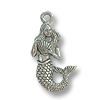 Mermaid Charm 19x12mm Pewter Antique Silver Plated (1-Pc)