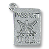 Charm - Passport 15x11mm Pewter Antique Silver Plated (1-Pc)