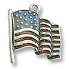 Charm - USA Flag 21x18mm Pewter Silver Plated Hand Painted (1-Pc)