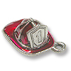 Fire Hat Charm 15x11mm Pewter Silver Plated Hand Painted (1-Pc)