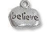 Charm - Believe 9x12mm Pewter Antique Silver Plated (1-Pc)
