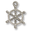 Ship Wheel Charm 14x13mm Pewter Antique Silver Plated (1-Pc)