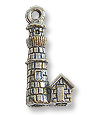 Lighthouse Charm 17x10mm Pewter Antique Silver Plated (1-Pc)