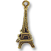 Eiffel Tower Charm 21x8mm Pewter Antique Gold Plated (1-Pc)