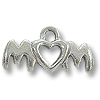 Mom with Heart Charm 7x19mm Pewter Antique Silver Plated (1-Pc)