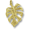 Leaf  Charm 18x13mm Pewter Antique Gold Plated (1-Pc)
