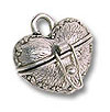 Charm - Prayer Box Heart 15x18mm Pewter Antique Silver Plated (1-Pc)