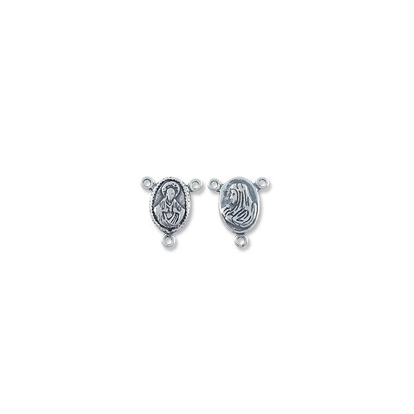 Connector - Rosary Centerpiece 16x15mm Sterling Silver (1-Pc)