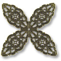 Filigree Clover Connector 48mm Antique Brass Plated (1-Pc)
