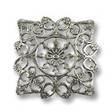 Connector - Filigree Square 28mm Silver Plated (1-Pc)