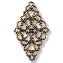 Connector - Filigree Diamond 45x25mm Antique Copper Plated (1-Pc)
