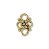 4-Loop Flower Connector Pewter Antique Gold Plated 9x13mm (1-Pc)