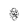 4-Loop Flower Connector Pewter Antique Silver Plated 9x13mm (1-Pc)