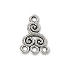Volute Connector Pewter Antique Silver Plated 8x13mm (1-Pc)